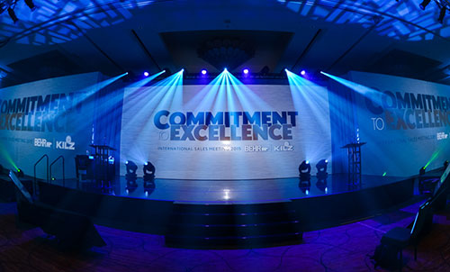 custom tension fabric truss wrap projection screen installed for stage design